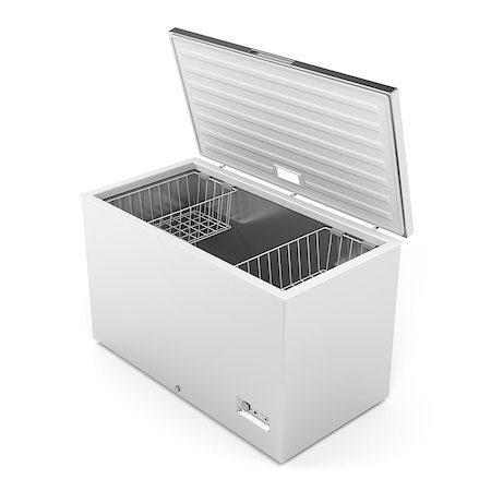 silver box - Silver freezer on white background Stock Photo - Budget Royalty-Free & Subscription, Code: 400-08282909