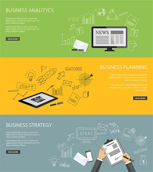 Flat design modern vector illustration  set of concepts of  business site with mobile phone, envelope, hands, tablet, monitor screen and pen and paper  - eps 10 Stock Photo - Royalty-Free, Artist: sliplee, Image code: 400-08294631