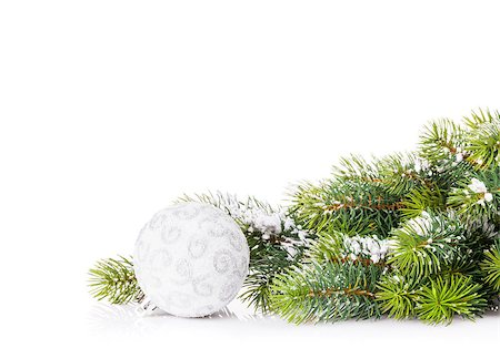 silver box - Christmas tree branch with snow and bauble. Isolated on white background with copy space Stock Photo - Budget Royalty-Free & Subscription, Code: 400-08295020