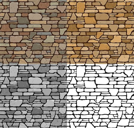Set 4 Seamless Grunge Stone Brick Wall Texture with various variants of color. Vector Illustration. Stock Photo - Budget Royalty-Free & Subscription, Code: 400-08295490