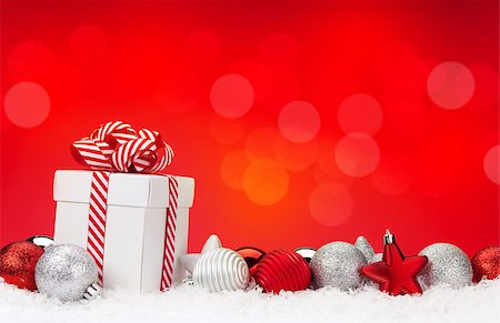 silver box - Christmas background with baubles, gift box and bokeh copy space Stock Photo - Budget Royalty-Free & Subscription, Code: 400-08296877