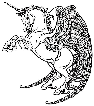 winged unicorn mythological horse . Black and white image Stock Photo - Budget Royalty-Free & Subscription, Code: 400-08297189