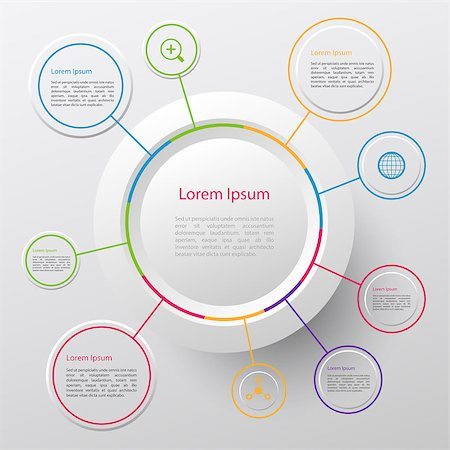 Modern vector circle infographic elements in bright colors Stock Photo - Budget Royalty-Free & Subscription, Code: 400-08297889