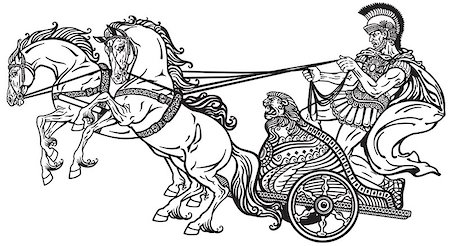 roman warrior in a chariot pulled by two horses . Black and white illustration Stock Photo - Budget Royalty-Free & Subscription, Code: 400-08298298