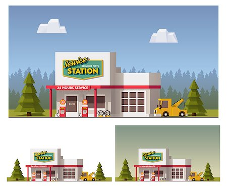 Vector flat Car Service building icon Stock Photo - Budget Royalty-Free & Subscription, Code: 400-08298508