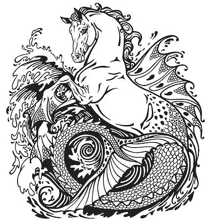 hippocampus or kelpie mythological sea-horse . Black and white illustration Stock Photo - Budget Royalty-Free & Subscription, Code: 400-08298501