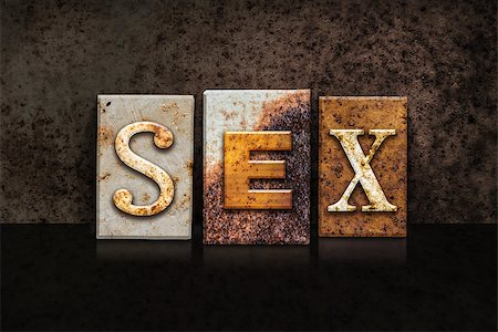 "people mating - The word ""SEX"" written in rusty metal letterpress type on a dark textured grunge background. Stock Photo - Budget Royalty-Free & Subscription, Code: 400-08299115"