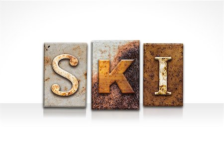 """The word """"SKI"""" written in rusty metal letterpress type isolated on a white background. Stock Photo - Budget Royalty-Free & Subscription, Code: 400-08299122"""