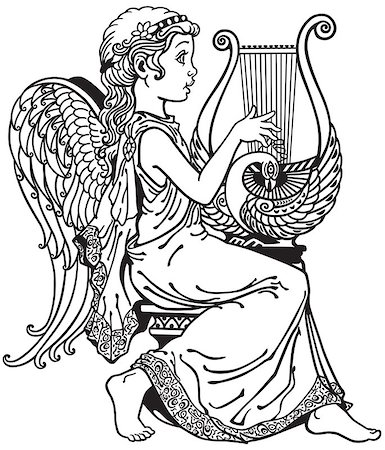little girl angel playing lyre . Black and white side view image Stock Photo - Budget Royalty-Free & Subscription, Code: 400-08299303
