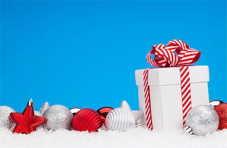silver box - Christmas background with baubles, gift box and copy space Stock Photo - Budget Royalty-Free & Subscription, Code: 400-08299747