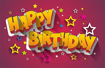 Happy Birthday Greeting Card On Background vector Illustration Stock Photo - Budget Royalty-Free & Subscription, Code: 400-08299849