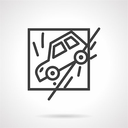 Abstract flat black line design vector icon for car slid off a road. Occasions for car insurance. Design element for business and website. Stock Photo - Budget Royalty-Free & Subscription, Code: 400-08290591