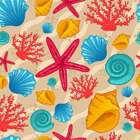 simsearch:400-04638538,k - Seamless pattern with seashells, starfish and coral. Background with waves. Vector illustration can be used for fills, web page background, surface, textile, wrap Stock Photo - Budget Royalty-Free & Subscription, Code: 400-08290886