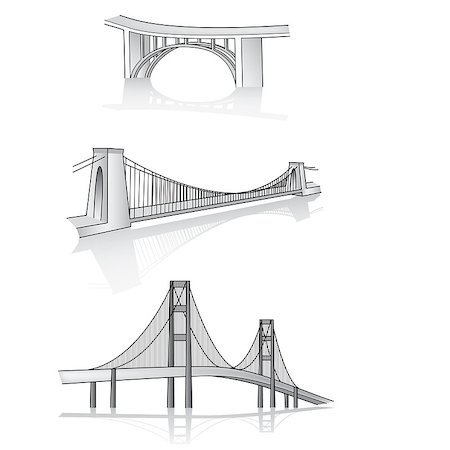 scalable - Various bridges in 3d vector format illustration Stock Photo - Budget Royalty-Free & Subscription, Code: 400-08292126