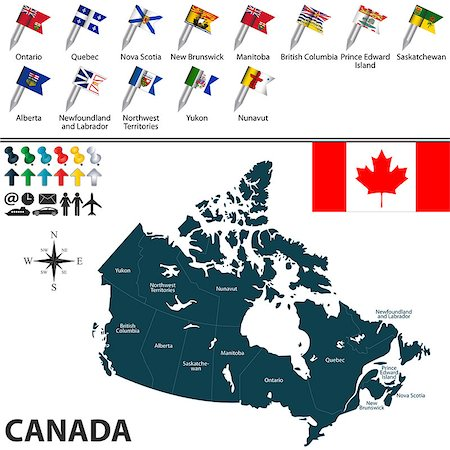 Vector map of Canada with regions with flags on white Stock Photo - Budget Royalty-Free & Subscription, Code: 400-08300454