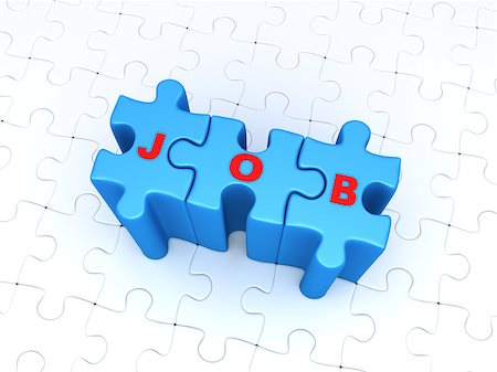 JOB word on three connected puzzle pieces and many puzzle pieces are on the ground Stock Photo - Budget Royalty-Free & Subscription, Code: 400-08300661