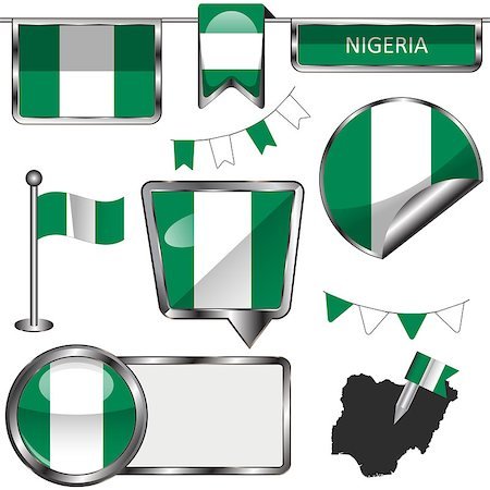 Vector glossy icons of flag of Nigeria on white Stock Photo - Budget Royalty-Free & Subscription, Code: 400-08303599