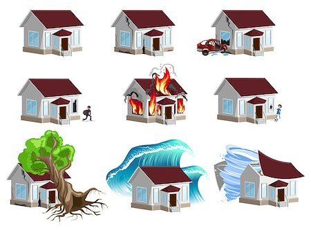flooded homes - Set homes Disaster. Home insurance. Property insurance. Isolated on white vector illustration Stock Photo - Budget Royalty-Free & Subscription, Code: 400-08319033