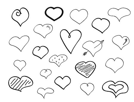 Hand-drawn doodle hearts big pen scribble set Stock Photo - Budget Royalty-Free & Subscription, Code: 400-08335230