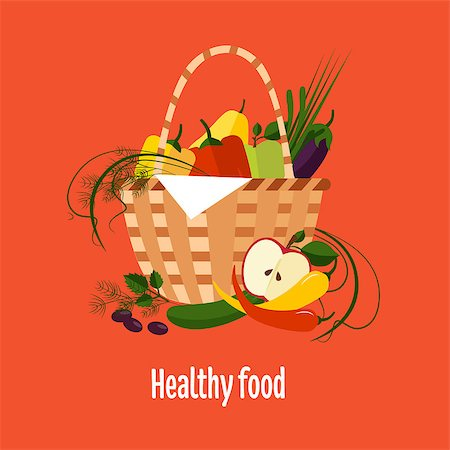 scalable - Vector illustration of basket full of fresh fruit Stock Photo - Budget Royalty-Free & Subscription, Code: 400-08335641