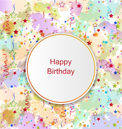 simsearch:400-04369855,k - Illustration Confetti Card for Happy Birthday on Grunge Colorful Backdrop - vector Stock Photo - Budget Royalty-Free & Subscription, Code: 400-08337839