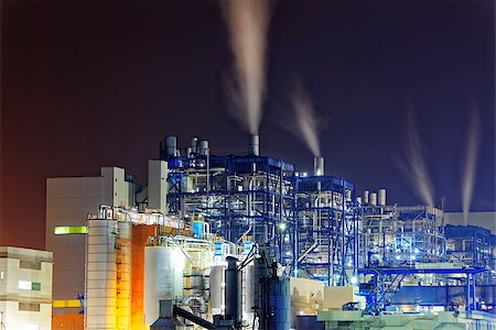 Power station with a steam cloud blown by the wind in a cold starry winter night Stock Photo - Budget Royalty-Free & Subscription, Code: 400-08338951