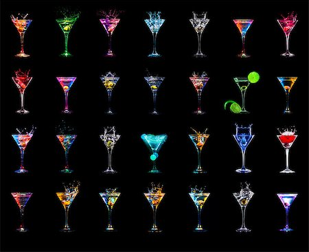 Large cocktail collection isolated on the black Stock Photo - Budget Royalty-Free & Subscription, Code: 400-08331817