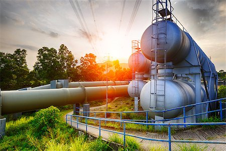 Glow light of petrochemical industry water tank on sunset. Stock Photo - Budget Royalty-Free & Subscription, Code: 400-08332414