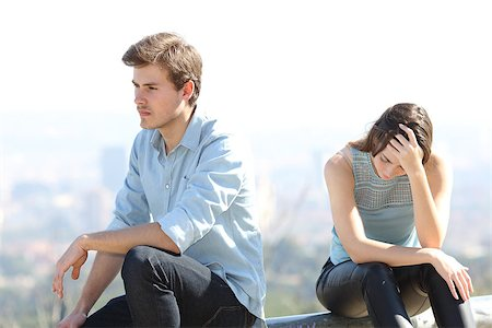 sad lovers break up - Bad boy arguing with his couple breakup concept Stock Photo - Budget Royalty-Free & Subscription, Code: 400-08333799