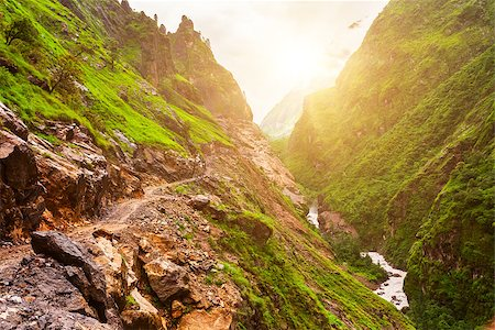 Beautiful Asian landscape with mountain river, bright colors, pristine nature. Nepal Stock Photo - Budget Royalty-Free & Subscription, Code: 400-08333977