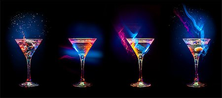 Bright  cocktails in glasses   isolated on the black Stock Photo - Budget Royalty-Free & Subscription, Code: 400-08333980