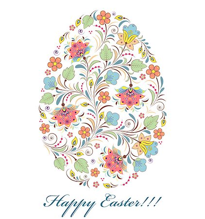 flower greeting - Vector illustration of floral colorful easter egg on white background Stock Photo - Budget Royalty-Free & Subscription, Code: 400-08346440