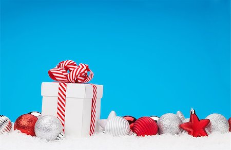silver box - Christmas background with baubles, gift box and copy space Stock Photo - Budget Royalty-Free & Subscription, Code: 400-08346943