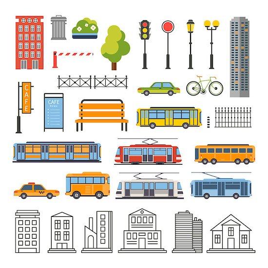 Transportation and City Traffic Infographics Elements. Vector Illustartion Set Stock Photo - Royalty-Free, Artist: TopVectors, Image code: 400-08347846
