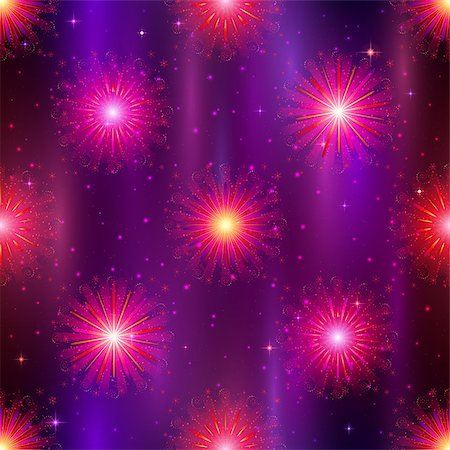 pink and purple fireworks - Firework background seamless, lilac and violet on night sky. Pattern for holiday design. Vector eps10, contains transparencies Stock Photo - Budget Royalty-Free & Subscription, Code: 400-08348387