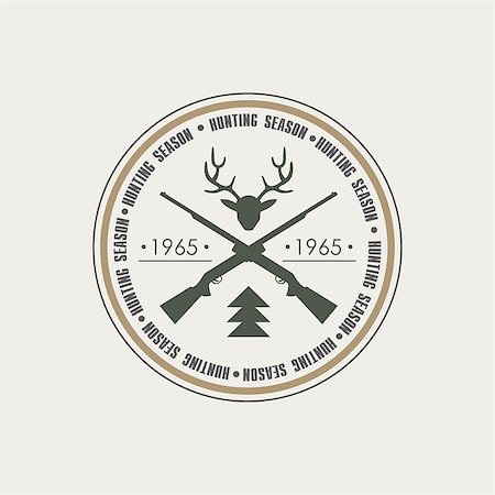 deer hunt - Hunting Vintage Vector Emblem with Guns and Dog Icons and Badges. Vector Illustration Stock Photo - Budget Royalty-Free & Subscription, Code: 400-08348417