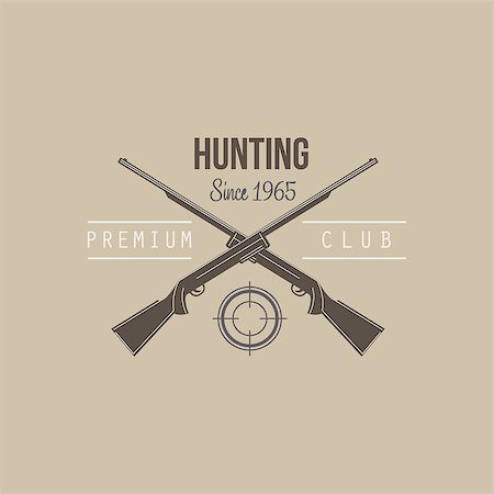 deer hunt - Hunting Vintage Vector Emblem with Guns and Dog Icons and Badges. Vector Illustration Stock Photo - Budget Royalty-Free & Subscription, Code: 400-08348524