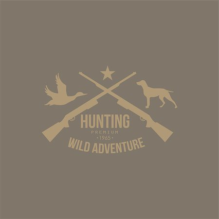 deer hunt - Hunting Vintage Vector Emblem with Guns and Dog Icons and Badges. Vector Illustration Stock Photo - Budget Royalty-Free & Subscription, Code: 400-08348525