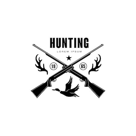 deer hunt - Hunting Vintage Vector Emblem with Horns and Guns Stock Photo - Budget Royalty-Free & Subscription, Code: 400-08348526