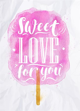 Poster watercolor cotton candy lettering sweet love for you drawing in pink color on crumpled paper Stock Photo - Budget Royalty-Free & Subscription, Code: 400-08348736