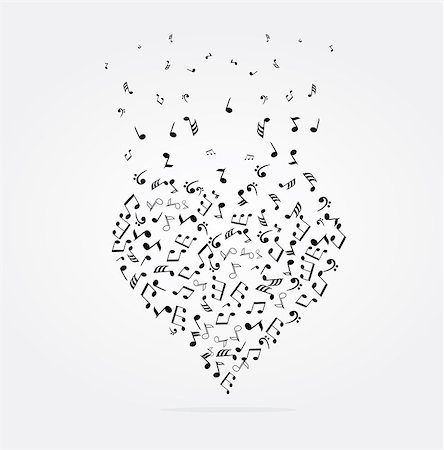 vector illustration of musical heart with notes Stock Photo - Budget Royalty-Free & Subscription, Code: 400-08349023