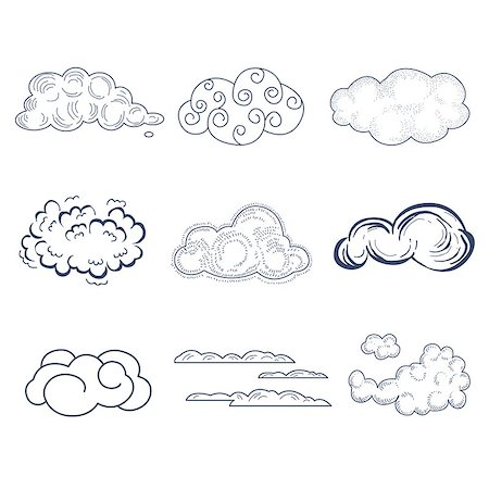drawn curved - Handdrawn Cloud Collection. Black and White Vector Illustration Stock Photo - Budget Royalty-Free & Subscription, Code: 400-08349175