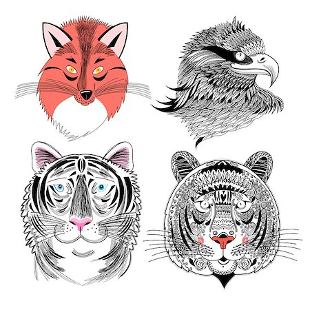 Beautiful vector set predator fox eagle and tiger Stock Photo - Budget Royalty-Free & Subscription, Code: 400-08349434
