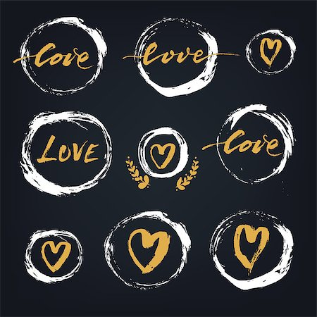 Set of white hand drawn textured spots and circles with hearts and hand lettering on the blackboard, Valentines Day vector design elements Stock Photo - Budget Royalty-Free & Subscription, Code: 400-08349469
