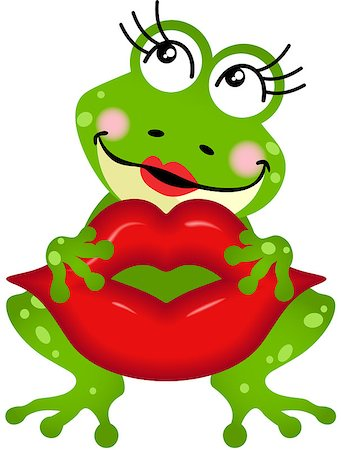 Scalable vectorial image representing a frog girl holding lips, isolated on white. Stock Photo - Budget Royalty-Free & Subscription, Code: 400-08349537