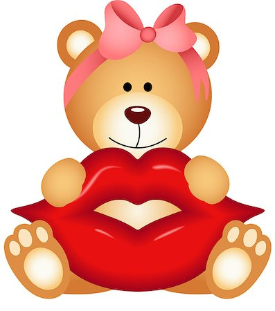 Scalable vectorial image representing a teddy bear girl holding lips, isolated on white. Stock Photo - Budget Royalty-Free & Subscription, Code: 400-08349540