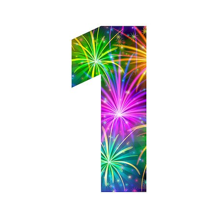 Mathematical sign, number one, stylized colorful holiday firework with stars and flares, element for web design. Eps10, contains transparencies. Vector Stock Photo - Budget Royalty-Free & Subscription, Code: 400-08340554