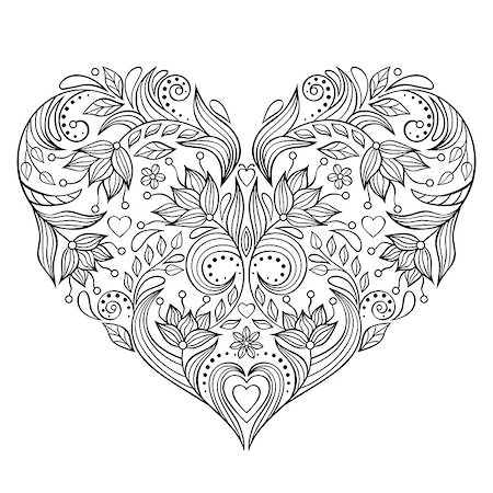 Vector illustration of floral valentines heart isolated on white background. Stock Photo - Budget Royalty-Free & Subscription, Code: 400-08340688