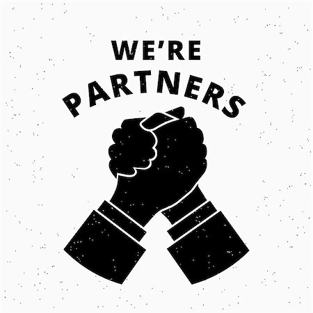 We are partners. Two business partners agreed a deal and doing handshaking.  Grunge textured illustration on white background Stock Photo - Budget Royalty-Free & Subscription, Code: 400-08341303