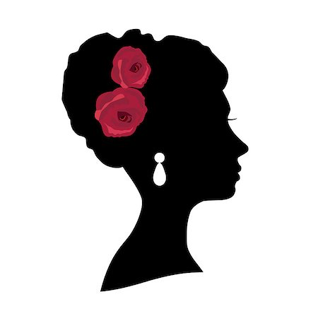 vector illustration of a girl bride head silhouette with roses Stock Photo - Budget Royalty-Free & Subscription, Code: 400-08342377